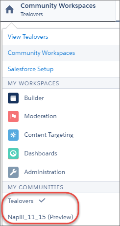 Community Toggle in Workspaces